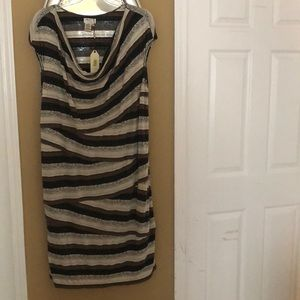 Brown, black and cream cowl neck dress size 3x